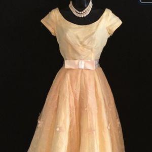 Dresses & Skirts - 50's Pale Yellow Chiffon Cup Cake Dress    VS73